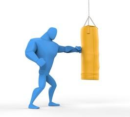 3D  Blue Boxer Training on heavy bag.