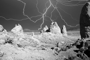 Lightning Over Trona Pinnacles