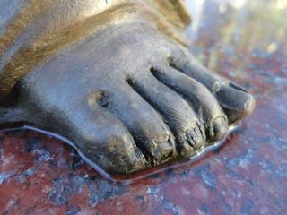 Silver foot sculpture