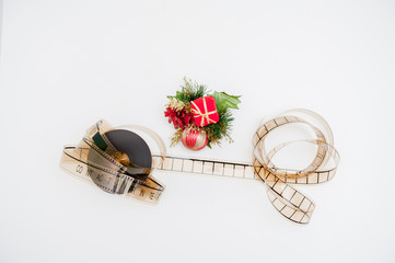 Film reel with christmas decoration