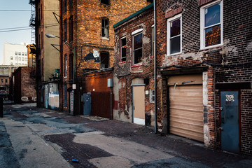 Old buildings in an alley in Baltimore, Maryland.