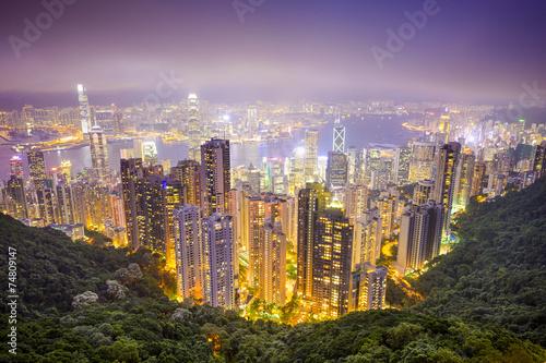 Naklejka Hong Kong, China City Skyline
