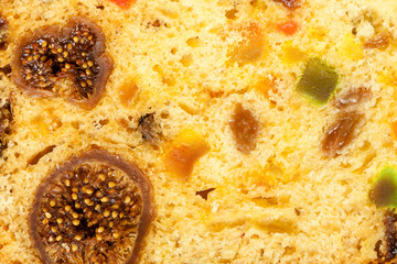 Close up fruit cake stollen as food background