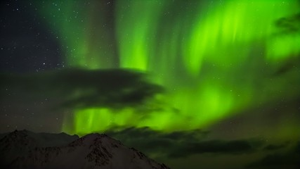 Arctic Northern Lights over the mountains