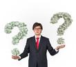 businessman holding money question mark