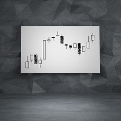 candlestick graph on paper