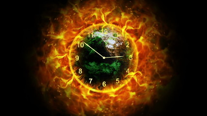 Fiery Destruction Earth and Clock, with Alpha Channel