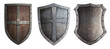 Leinwanddruck Bild - metal medieval shields set isolated