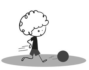 Doodle Little boy playing football - soccer Sport