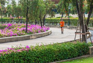 Public park for jogging in Bangkok, Thailand