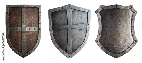 metal medieval shields set isolated - 74810930
