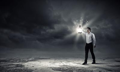 Man with lantern