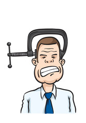 Caricature businessman head clamp