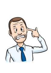 Caricature businessman pointing finger on his head