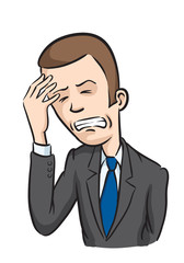 Caricature businessman with headache