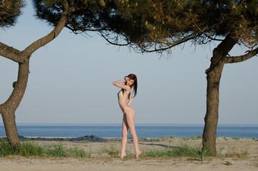 sexy young brunette woman or girl wearing a bikini