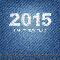 Happy new year 2015 creative greeting card design denim backgrou