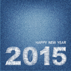 Happy new year 2015 creative greeting card design denim backgrou