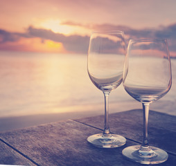 two empty glasses on a table in a cafe on the background of the