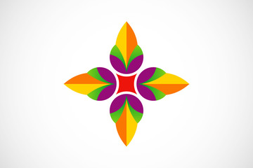abstract flower decoration geometry logo vector
