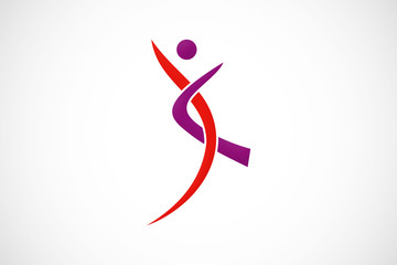 abstract people dance sport logo vector