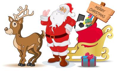 Santa, Claus, deer, bag, sign,board, sledge
