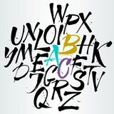 Fototapety Vector alphabet. Letters of the alphabet written with a brush