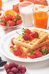 Waffle and strawberry breakfast