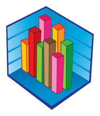 Business bar chart in color vector illustration