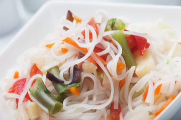 Asian rice noodle with vegetables
