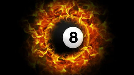 Fiery Pool Billiard Ball Background, with Alpha Channel