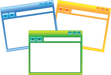 Set of Three Internet Browsers Windows Vector Illustration