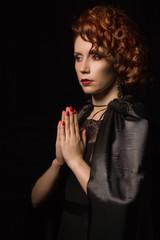 Very pretty woman vamp praying