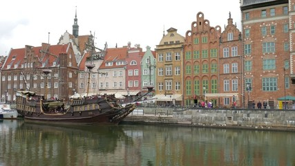 Gdansk. The Long Riverside promenade and old galleon ship