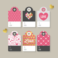 Modern Valentine's day gift tag stylish design