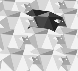 Black sheep in the crowd. Geometric Abstract background.