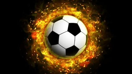 Fiery Soccer Ball Background, with Alpha Channel