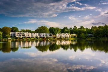 Beautiful sky reflecting in Wilde Lake, in Columbia, Maryland.