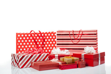 Red gift boxes and shopping bags