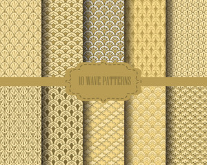gold wave pattern set