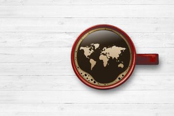 Kaffeetasse mit Weltkarte