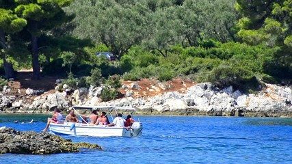 Small boat with tourists