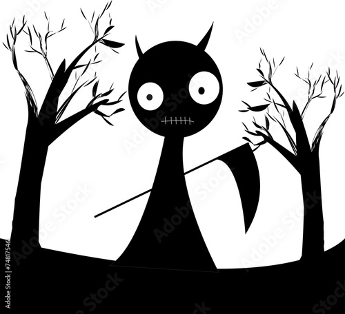 Leinwanddruck Bild devil dark vector.it's seem fearful but cute!