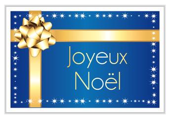 Joyeux noël. Carte bleue nuit et dorée.