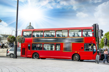 The red double decker bus.