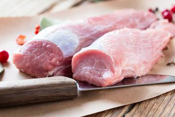 Raw pork fillet