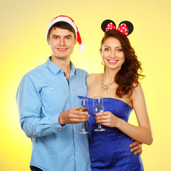 Portrait of sweet couple. couple of lovers  celebrate Christmas