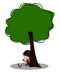 Doodle Little Boy read a book under tree