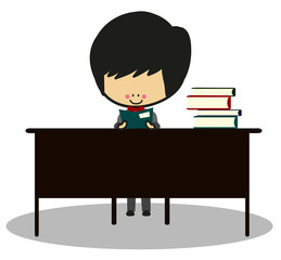 Doodle Cute Little Boy Are Learning At His Desk - Full Color