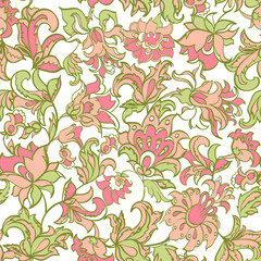 ethnic flowers seamless vector